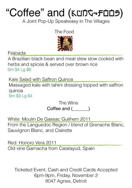 Coffee and Kung Food menu